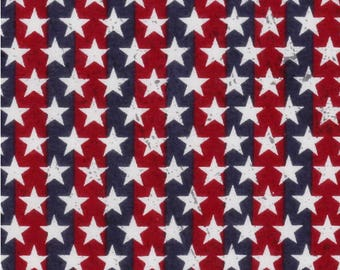 By the HALF YARD - Patriotic Cotton Fabric - Stars on Stripes, Pattern #15399819, White Stars on Red and Blue Stripes