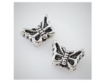 22 Little Butterfly Spaver Bead Atq Silver Tone Distressed Design Beading Jewelry Supplies Findings 5x7mm