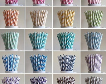 Paper Straws - 100 Mix and Match Variety Pack of Striped, Polka Dot, Chevron Paper Straws Birthday Wedding Baby Shower Bridal Mix