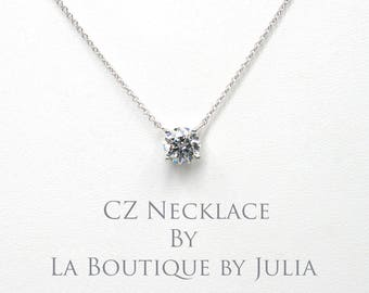 1CT.CZ Gold Necklace.White Gold Necklace.Yellow Gold Necklace.Cubic Zirconia / Simulated Diamond Necklace.Solid Gold Solitaire Necklace