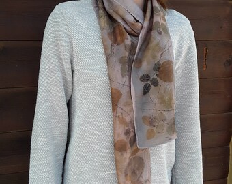 Eco print womens scarf, plant dyed fabric, soft silk, printed with natural dyes\plants Boho Chic, Botanical Dyed, natural dyes