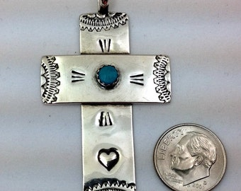 One of a kind cross with turquoise stone