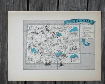 Colorado Print / State Wall Decor / 1930s Vintage Map / Colorado Map State Art / Travel Wall Art / Old Map of Colorado / Colorado Decor