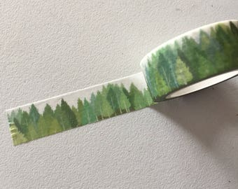 Green Forest Washi Tape, Greenery Planner Border, Woodland Washi Tape, Planner Supplies, Crafting Tape, Greenery Deco Tape