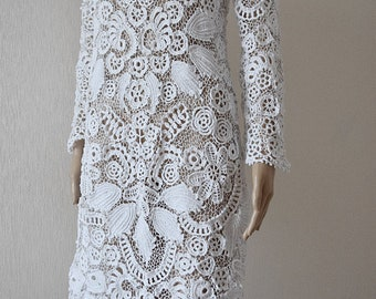 The white lace is handmade, unique, fashion woman dress, lace dress, summer style, summer dress, women clothes