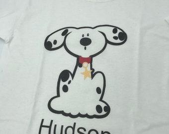 Custom firehouse dog shirt, toddler or boys custom dog shirt, fireman enthusiasts shirt