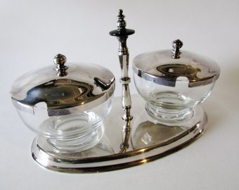 FB Rogers Condiment Set, Bakelite Handle, Silver Plate and Glass