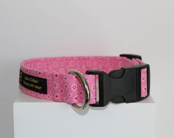 Pink flowers dog collar, Pink dog collar, Flowers dog collar, Dog collar, Handmade dog collar