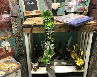 Faux Succulent wall art created on aged wood