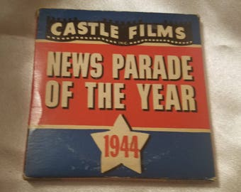 Vintage Castle Films News Parade of the Year 1944 Complete Edition 8 MM Millimeter Film in Original Box World War II Homefront News Reel 8MM