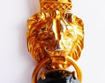 Jules Van Rouge lion face necklace   Egyptian Revival jewelry   Massive door knocker pendant   Gold tone faux black onyx   Vintage jewelry