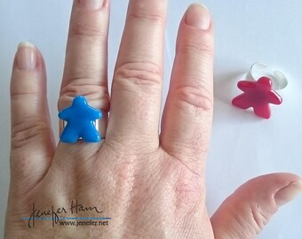 MEEPLE adjustable ring ! super cute meeple glass ring made by Jenefer Ham