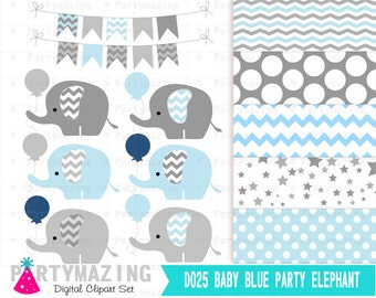 Blue Baby Elephant Clipart Set, Grey Chevron, Shower Sprinkle Water, Cute Nursery Digital Paper Pack, Shower Set -D025