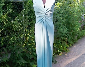 Vintage 1970s Light Turquoise Double Knit Slinky Long Evening Gown Retro Maxi Mod