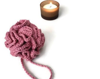 Pink crochet loofah vegan zero waste