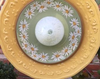 F-118 Glass Flower, Yellow, Green and White Garden Art