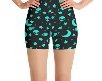 Alien Shorts, High Waist Yoga Shorts in Outer Space, Night Sky Festival Clothing, Rave Wear, Clubwear