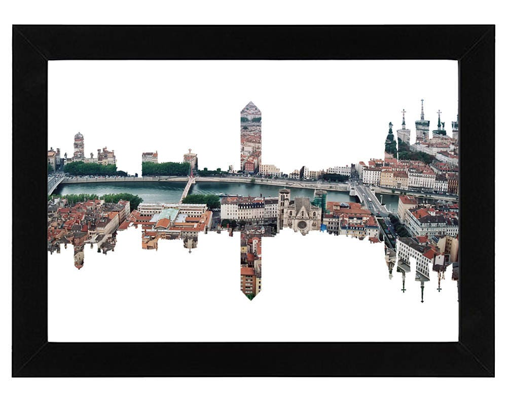 lyon skyline imprimer avec une photo a rienne de la ville. Black Bedroom Furniture Sets. Home Design Ideas
