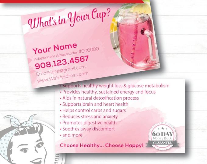 Business Card - Watercolor, plexus Business Card, New slim, Pink Drink, Pink Drink Update, plexus Swag