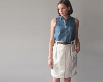 SALE linen skirt | cream button up  aline skirt | 1990s