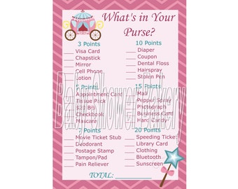 Princess Baby Shower Game, Princess Theme Baby Shower What's in Your Purse Game, Printable Girl Baby Shower Game, Instant Download Game