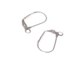 12 x 18mm Silver Leverback with Loop Earwire - 6 earwires