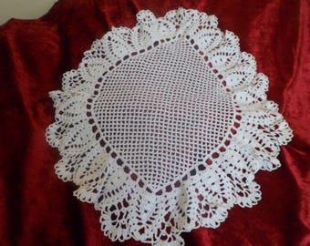 ellipse shape white cotton thread crochet doily