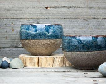 "Rustic pottery bowls, 8 cm/3"" tall. Handmade to order. Ceramic bowl. Dessert bowl. Soup bowl. Breakfast bowl. Rustic bowl. Farmhouse decor."