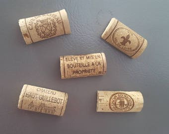 Set of Five Wine Cork Magnets, Wine gift, Kitchen Magnets, Wine Gift