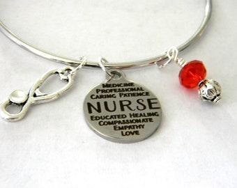 Nurse Bangle Bracelet with Red Bead Dangle Stethoscope Bracelet