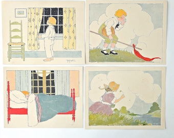 Antique Print Childs Room Decor Book Illustration Set of Four Book Print Baby Room Blanche Fisher Wright 1918 Childrens Room FREE SHIPPING