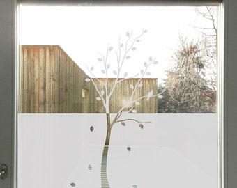 Tree Privacy Film, Tree Window Film, Bird Privacy Film Etched, Glass Privacy Decal, bird window film, Glass Door Tree Decal for Privacy