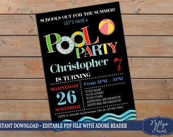 Birthday Pool Party, Pool Party Birthday Invitation, Kids Pool Party, Self Editable PDF file, Instant Download, Girl or Boy Invitation