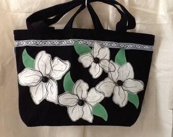 Flowers on dual handle black tote