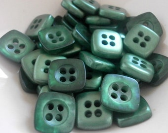 10 pcs Vintage Square Buttons 10mm Pearly Dark Green Plastic Buttons 4 Hole Button