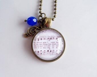 Hymn Necklace - When I Survey The Wondrous Cross Necklace - Inspirational Jewelry - Music Pendant - Church Hymn Jewelry  - Christian Jewelry