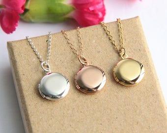 Children's Locket Necklace, Locket Necklace, Tiny Locket Necklace, Mini Locket Pendant, Flower Girl Necklace, Wedding Gift, Gift for Girl