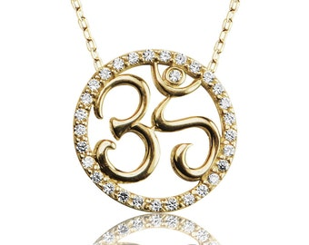 Om Necklace in Gold Plated 925 Sterling Silver and Cubic Zirconia • A Meaningful Gift for Everyone to Inspire Oneness With The Universe