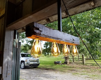 Reclaimed barn cypress chandelier