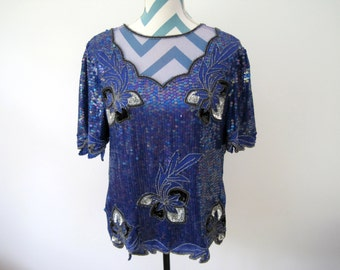 Vintage 80s Beaded Top - Cobalt Electric Blue, Silver Black Floral Embroidery - Indian Top with Mesh See Through - Small