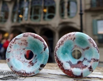 """Ear Plugs 22 mm 7/8"""" gauges Ceramic Ear Tunnels - Eyelets - Stretchers - Double Flared - 1 Pair - Made in Italy - Handmade"""