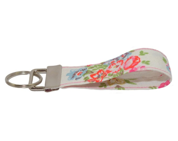 Cath Kidston Cranham Handmade Fabric Keyring On Chunky Metal Key Fob