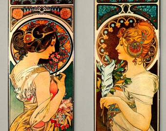 SALE! - 2x Alphonse Mucha - Primrose and Feather (Price for both),  Art Nouveau, Stained glass