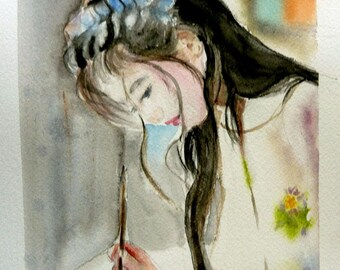 the letter, Japanese woman