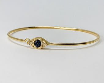 14K Yellow Gold Diamond and Sapphire Evil Eye Bangle Bracelet Statement Bracelet Gold Bracelet Gold Bangle Gold Jewelry Gift For Her