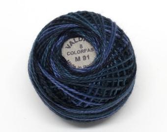 Valdani Pearl Cotton Thread Size 8 Variegated: #M91 Black Night