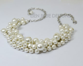 Ivory Pearl Cluster Necklace, Pearl Necklace, Cream Pearl Necklace, Ivory Bauble Necklace, Chunky Necklace, Bridal Jewelry, Pearl Necklace