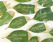 Magnolia Leaf Place Cards Gold Dipped / REAL Leaf Escort Cards / Magnolia Leaves / Natural Wedding Escort Card