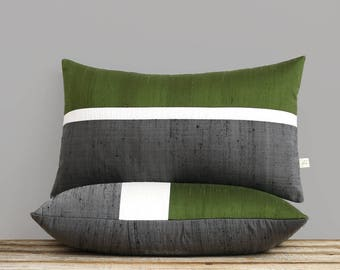 Dupioni Silk Horizon Line Pillow Cover in Olive, Cream + Charcoal Gray (12x20 or 20x20) by JillianReneDecor - Fall Decor - Olive Green