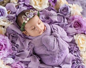 Mini Ingrid Newborn Floral Crown • Purple Newborn Floral Crown • Newborn Princess Crown | Ready to Ship